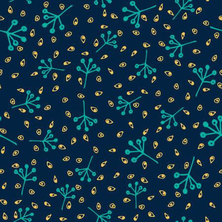 Vintage floral seamless pattern on navy background.