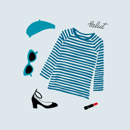 Stylish Parisian outfit illustration with blue striped t-shirt, shoes, sunglasses, beret and red lipstick.