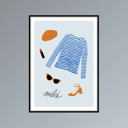 Poster with beret, striped longlsleeve shirt, sunglasses, shoe and hand lettered word voila, here you are in French. 写真素材 - 158193495
