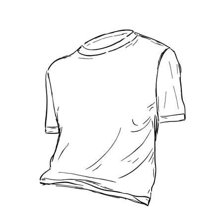 Basic white cotton t-shirt sketch. Vector illustration.