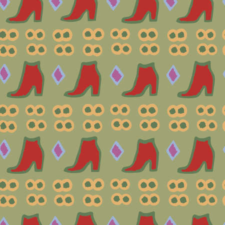 Abstract seamless pattern with red boots. Vector illustration. 向量圖像