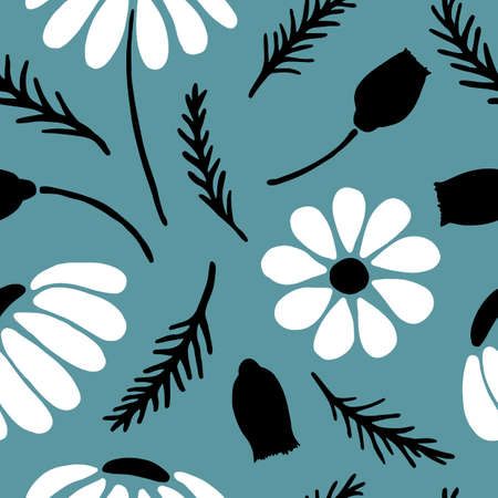 Hand drawn daisy seamless pattern on moody blue background