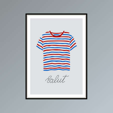 Hand drawn poster with blue and red striped t-shirt and handlettered word salut, French for hello. Фото со стока