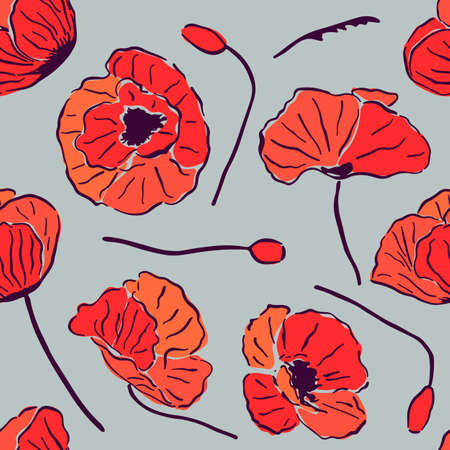 Seamless pattern with red poppy flowers and buds on grey background.