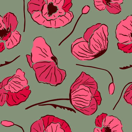 Seamless pattern with red poppy flowers and buds on green background. Иллюстрация