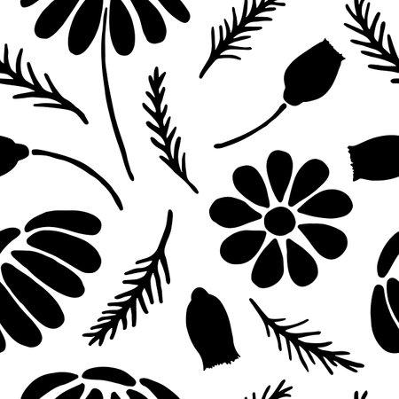 Hand drawn daisy seamless pattern on clean white background Иллюстрация
