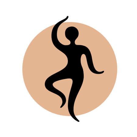 Abstract dancing man black silhouette over round shape. Yoga studio logo design template
