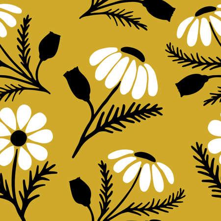 Hand drawn daisy seamless pattern on trendy yellow background