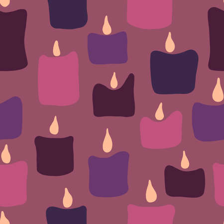 Seamless pattern with pink and purple noel xmas birthday candles. 写真素材 - 163940772