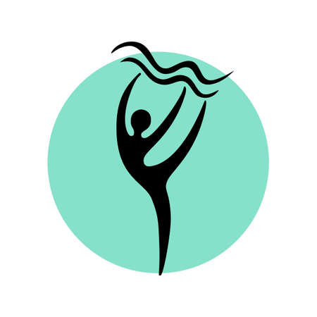 Abstract dancer black silhouette over round shape. Dance studio logo design template