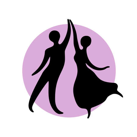 Abstract dancers black silhouette over round shape. Иллюстрация