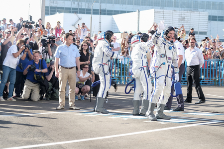 BAIKONUR, KAZAKHSTAN - JULE, 28: real Astronauts, astronauts are sent to the ISS on a Russian space rocket. Randolph Bresnik, Paolo Nespoli, Sergey Ryazanskiy go to say goodbye to the planet earth