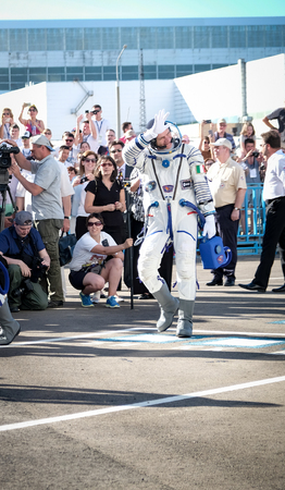 BAIKONUR, KAZAKHSTAN - JULE, 28: real Astronauts, astronauts are sent to the ISS on a Russian space rocket. Paolo Nespoli go to say goodbye to the planet earth.