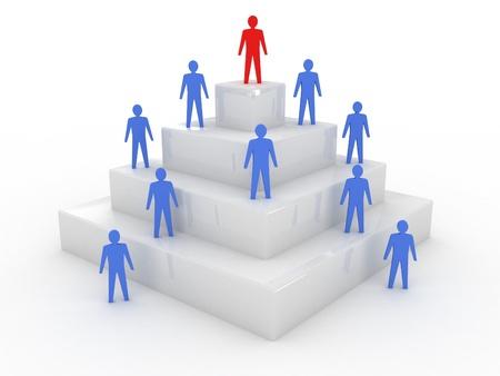 Társadalmi hierarchia fogalma 3d illusztráció