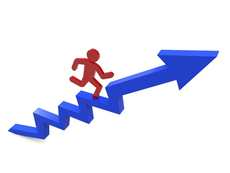 3D people - man, person climbing stairs with arrow   To Success