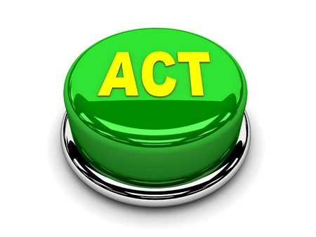 3d button green act start push photo