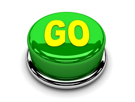3d button green go power start push  photo