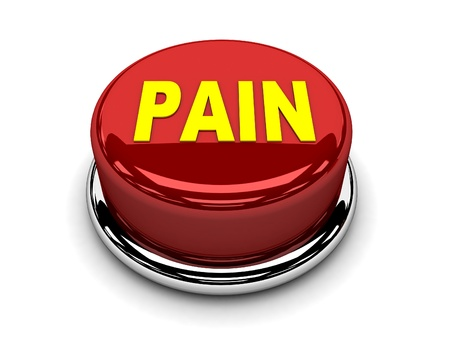 3d button red pain stop push Stock Photo