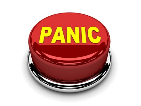 3d button red panic stop push Stock Photo - 17451393