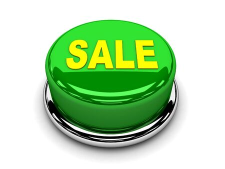 3d button green sale start push photo