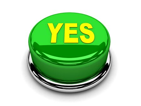 3d button green yes consented push Stock Photo - 17451395