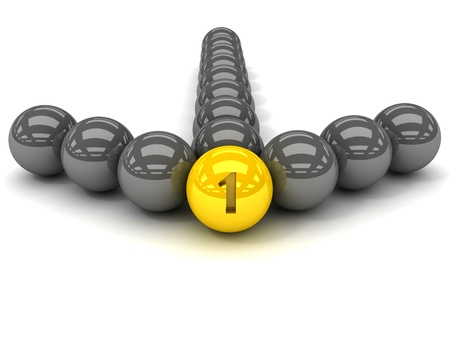 Grey arrow of the balls with the gold leader in front  3D illustration