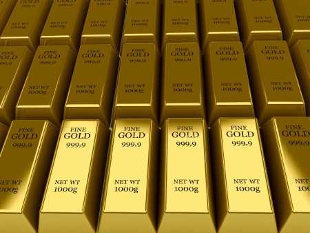 Many Gold bars background  Concept 3D illustration  illustration