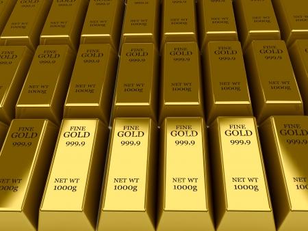Many Gold bars background  Concept 3D illustration