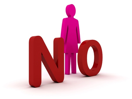 Female figure standing near to an no icon  Concept 3D illustration illustration