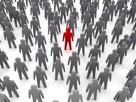 Unique person in crowd  Concept 3D illustration Stock Illustration - 17612185