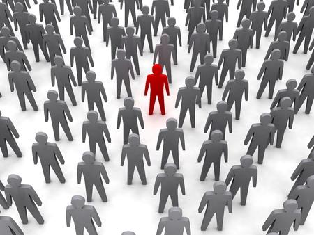 Unique person in crowd  Concept 3D illustration