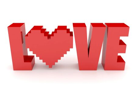 3D text Love and heart. Concept 3D illustration illustration