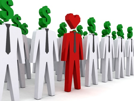 unusual valentine: Many peoples with dollar-shaped head and one with heart-shaped head. Stock Photo