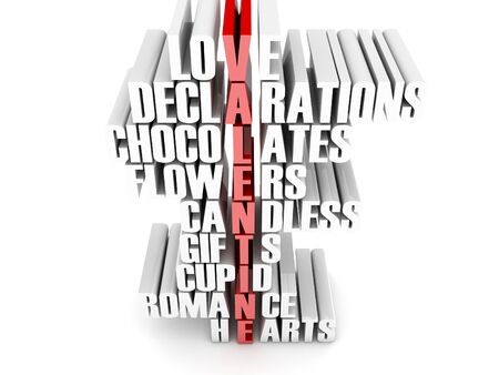 Topics forming the word valentine  Concept 3D illustration Stock Illustration - 17745605
