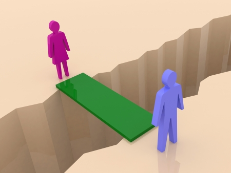Man and woman split on sides, bridge through separation crack  Concept 3D illustration  illustration