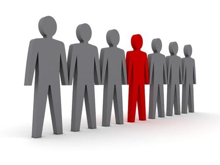 Unique person in row. Concept 3D illustration Stock Illustration - 18024611