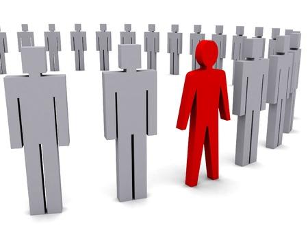 Unique person in row. Concept 3D illustration Stock Illustration - 18024616