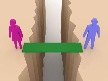 Man and woman split on sides, bridge through separation crack. Concept 3D illustration. illustration