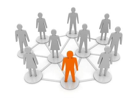 Mensen verbindingen Uniek, leiderschap concept 3D illustratie