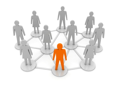 People connections  Unique, leadership  Concept 3D illustration Stock Illustration - 18245586