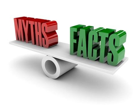 Mythen en feiten oppositie. Concept 3D illustratie.