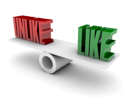 unlike: Unlike and Like opposition. Concept 3D illustration. Stock Photo