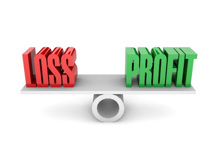 profit loss: Loss and Profit opposition. Concept 3D illustration. Stock Photo