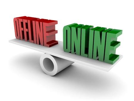 Offline en Online oppositie. Concept 3D illustratie.