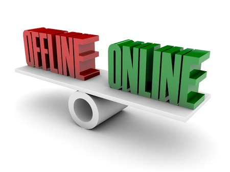 Offline-und Online Opposition. Konzept 3D-Darstellung.