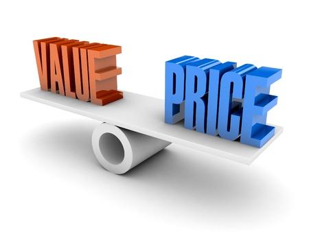 Érték és ára egyensúlyt. Koncepció 3d illusztráció. Stock fotó