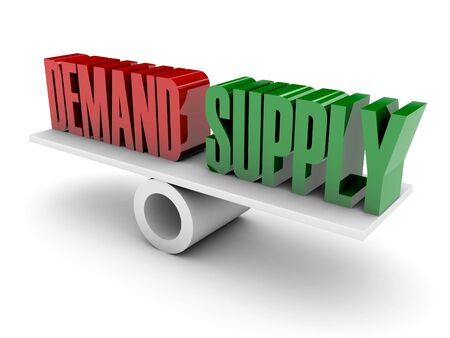 on demand: Demand and Supply opposition. Concept 3D illustration. Stock Photo