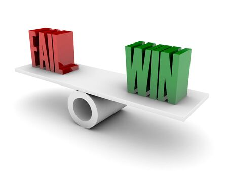 opposition: Fail and Win opposition. Concept 3D illustration.