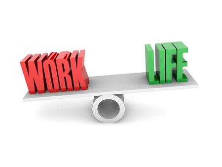 work life balance: Work and Life balance. Concept 3D illustration.