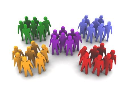 Különböző embercsoportok. Concept 3D illusztráció